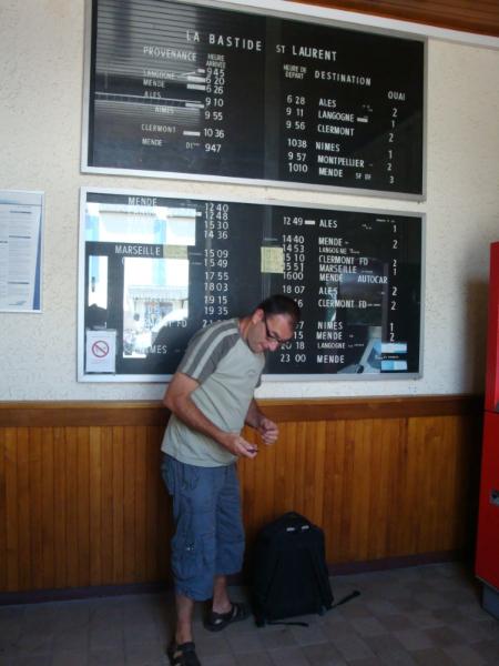 Herman en de vertrektijden vanuit La Bastide-Puylaurent