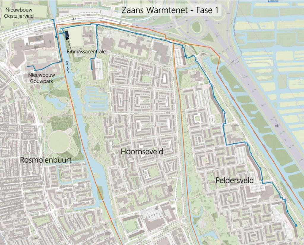 kaart van het Warmtenet Zaandam OOst